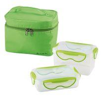 Be Nomad - Lunch box - 2 boites hermétiques 1,3 L et 600 ml, + pochette de transport vert