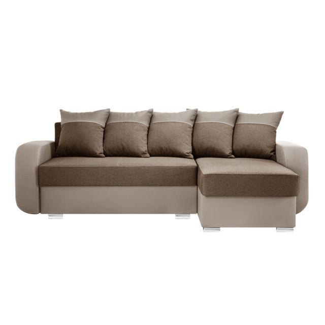 MARQUE GENERIQUE DESTIN Canapé d'angle 4 Places - Toucher Cuir et Lin - BEIGE