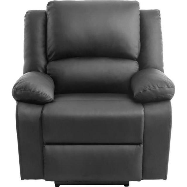 MARQUE GENERIQUE FAUTEUIL RELAX Fauteuil relaxation Electrique - Simili noir - L 88 x P 93 x H 96 cm