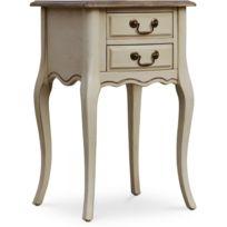 Privatefloor - Table de Chevet Style Rustique â€' Bois ciré Beige