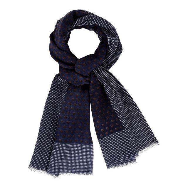 Les Poulettes Bijoux - Echarpe 100% Laine Bleu Marine Et Pois Marron - Bordure  Plumetis Blancs - pas cher Achat   Vente Echarpes, foulards - RueDuCommerce e4ba5368616