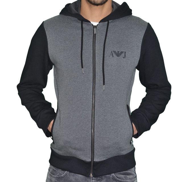 Armani - Jeans - Veste Sweat Zippé à Capuche - Homme - Aj Hoodie 01 - Gris  Melange Noir - pas cher Achat   Vente Blouson homme - RueDuCommerce 6250b067dee