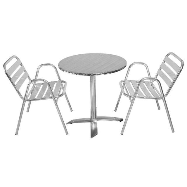 MobEventPro - Salon Table de jardin ronde 2 personnes en alu ...