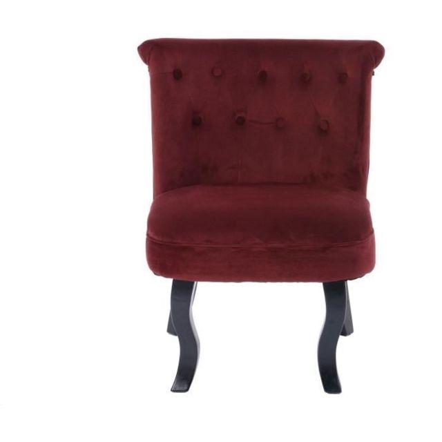 FAUTEUIL LIZY Fauteuil Crapaud - Velours rouge - Classique - L 56 x P 63 cm