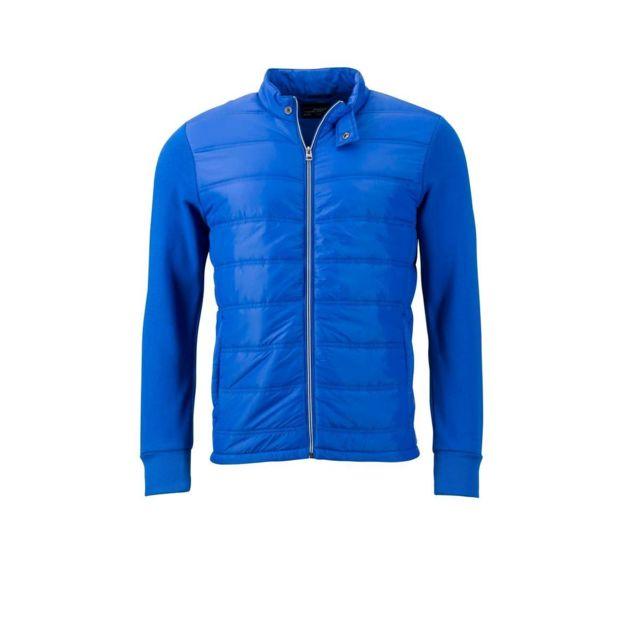JAMES & NICHOLSON Veste hybride style sweat - JN1124 - bleu nautique - Doudoune Homme