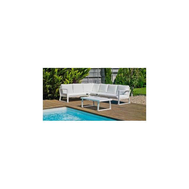 Hevea Ensemble Salon Sofa De Jardin Bolon 28 en Aluminium Blanc Coussins couleur Anais Blanc Hev31864