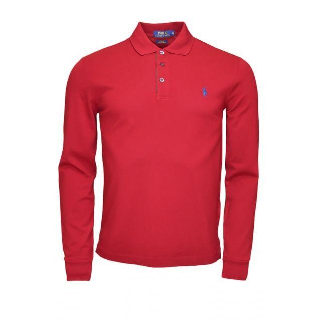 0610d2a101c Ralph Lauren - Polo manches longues rouge bordeaux pour homme XXL - pas  cher Achat   Vente Polo homme - RueDuCommerce