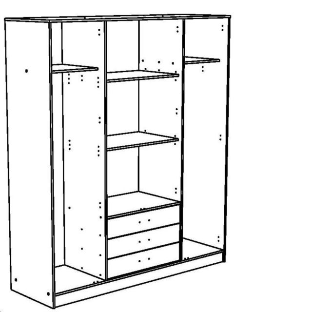 Last Meubles - Rangement 4 portes 3 tiroirs Tornade Blanc - 55cm x 202cm x 176cm