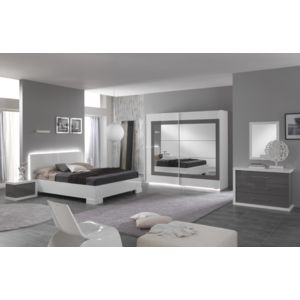Modern Design - Ensemble 3 éléments : lit led ancona 160 laqué blanc ...