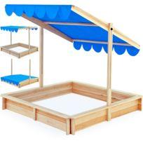 Rocambolesk - Superbe 140x140cm bac à sable avec réglable en hauteur et le toit ouvrant inclinable Neuf
