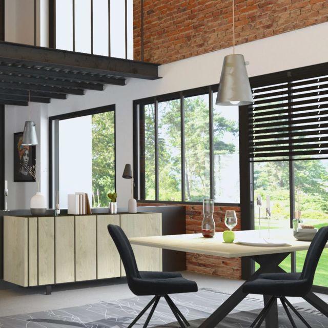 Nouvomeuble Salle à manger industrielle couleur bois et effet béton Kara