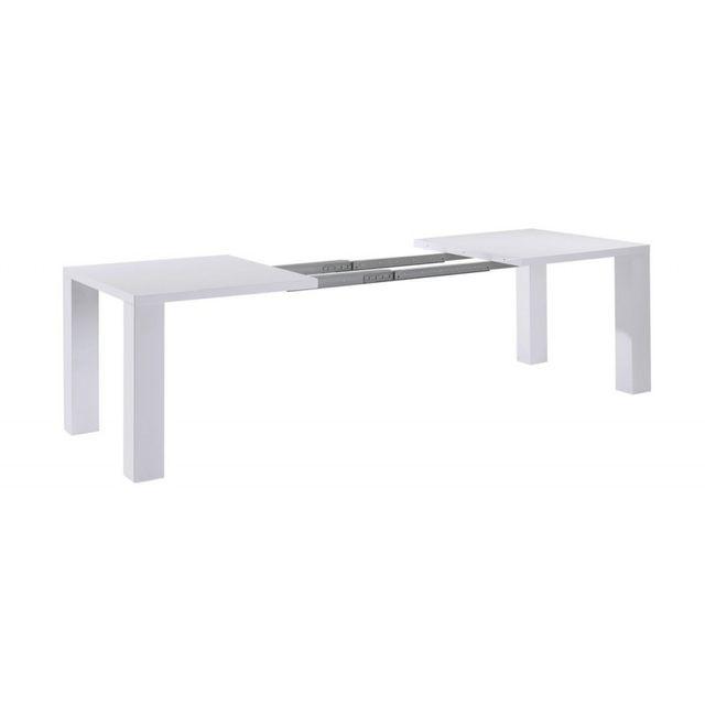 2dd1deda818687 Beaux Meubles Pas Chers - Table de Séjour Blanche Extensible 250 cm 90cm x  160cm x 76cm - pas cher Achat   Vente Tables à manger - RueDuCommerce