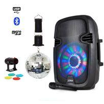 """Party Sound - Enceinte batterie Bluetooth Led 8"""" + Boule à facettes 15cm + Spot Rvbj"""