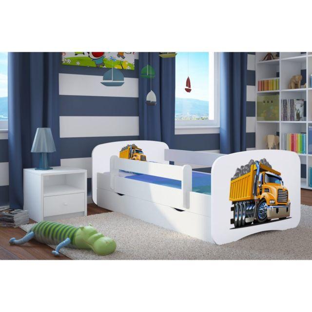 carellia lit enfant camion 70 cm x 140 cm avec barriere de securite sommier tiroirs. Black Bedroom Furniture Sets. Home Design Ideas
