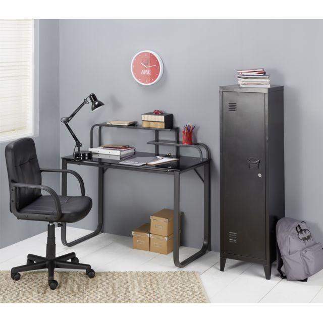 RUE DU COMMERCE Casier métal - L 38,3 x l 38,2 x H 137,5 cm - Noir Casier métal composé d'une porte et de 3 étages. Idéal pour apporter un style industriel à une chambre.Plus produit :- Design et pratique, il vous
