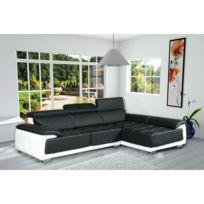 Meublesline - Canapé d'angle design simili cuir California noir et blanc