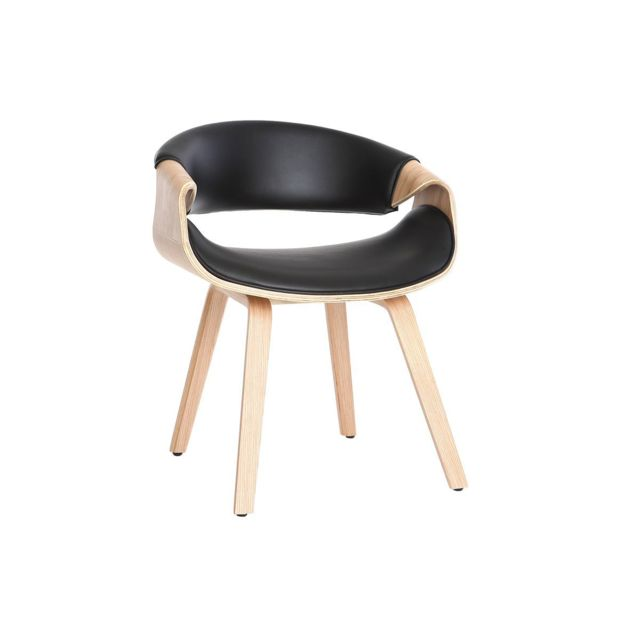design de qualité 82351 d777e Fauteuil scandinave noir et bois clair Aramis