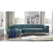 BOBOCHIC - LUNA - Canape d'angle gauche + Pouf - Bleu canard - 6 places - 95cm x 75cm x 308cm