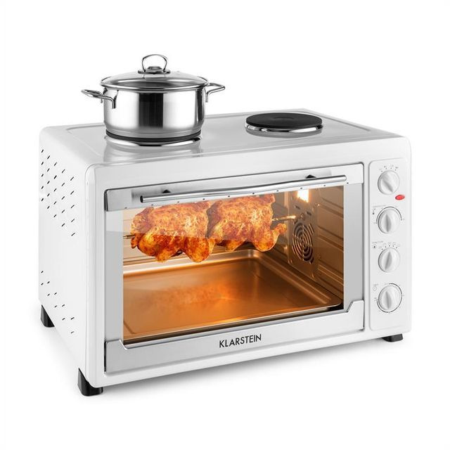 KLARSTEIN Masterchef 60 Mini four 60L 2500W + 2 plaques de cuisson 1600W - blanc