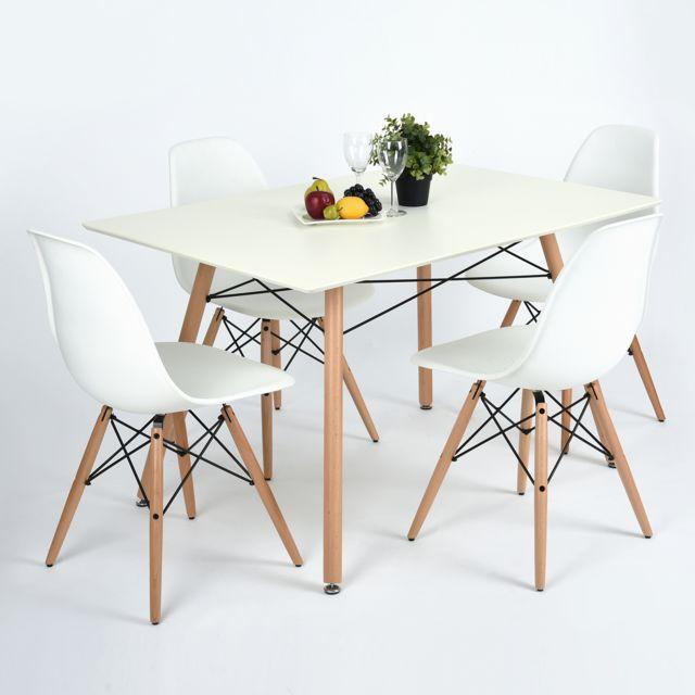Table A Manger Blanche Mdf Bois Scandinave Design Pas Cher Achat