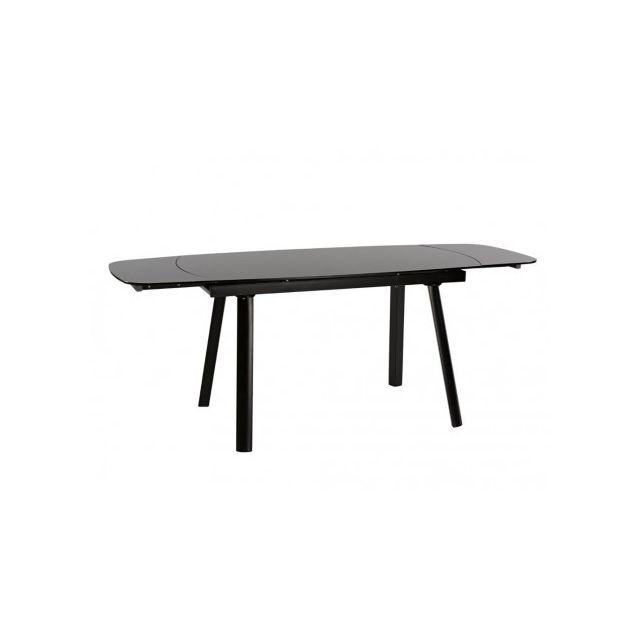 Table à manger extensible LISANDRO - 6 à 8 couverts - Verre trempé & Métal - Anthracite