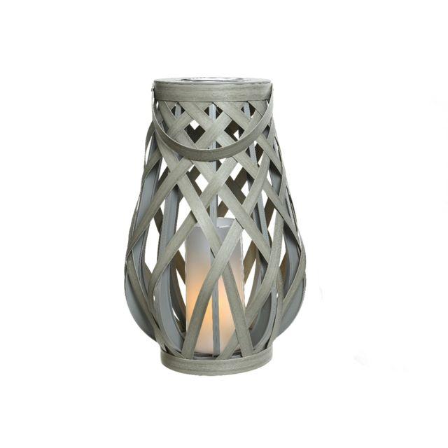 JARDIDECO Lanterne d'extérieur LED solaire effet bougie Gris