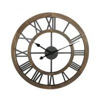 ff747350dbd86 Mobili Rebecca - Horloge vintage en bois marron avec chiffres romains -  Re6256