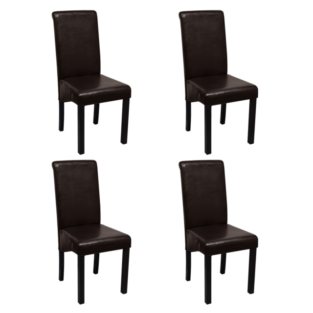 Vidaxl Set de 4 chaises salle à manger marron en cuir artificiel