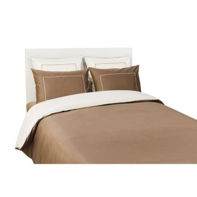 dodo housse de couette 200x200 cm savane et vanille pas cher achat vente housses de. Black Bedroom Furniture Sets. Home Design Ideas