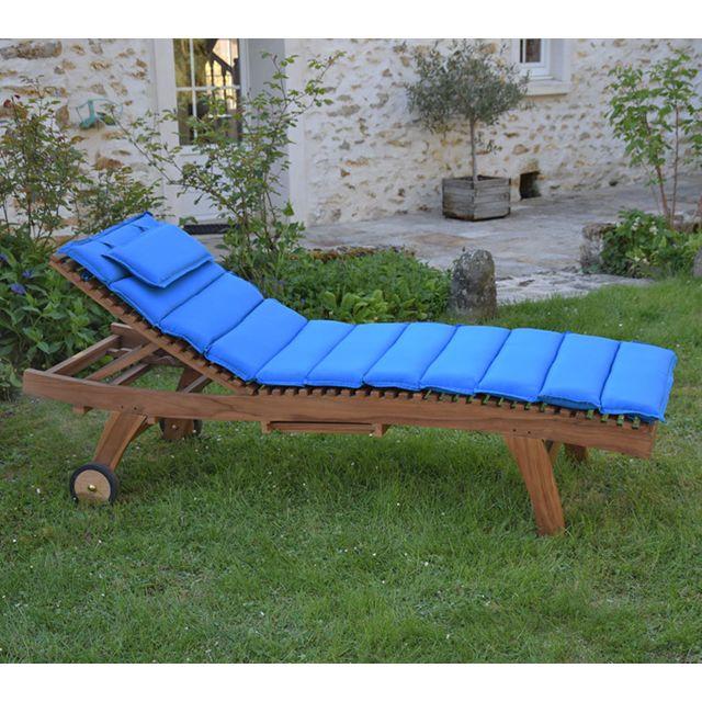 teck 39 attitude matelas bleu pour bain de soleil pas cher achat vente coussins galettes de. Black Bedroom Furniture Sets. Home Design Ideas