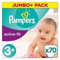 PAMPERS - Active Fit - Couches Taille 3+ Midi+, 6-10kg - 70 couches