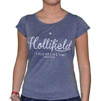 Hollifield - T Shirt Manches Courtes - Femme - Fts 009a - Bleu Gris