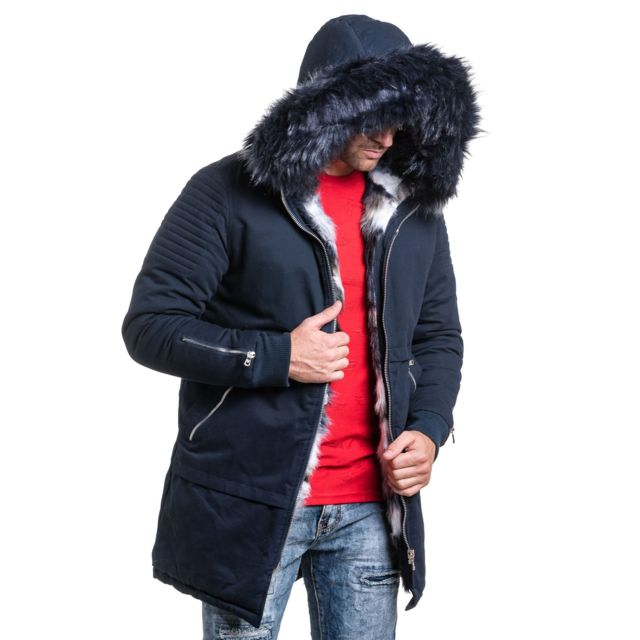 X Bleu navy PROJECT longue tendance homme fashion Parka fourrure vqdqHn8w