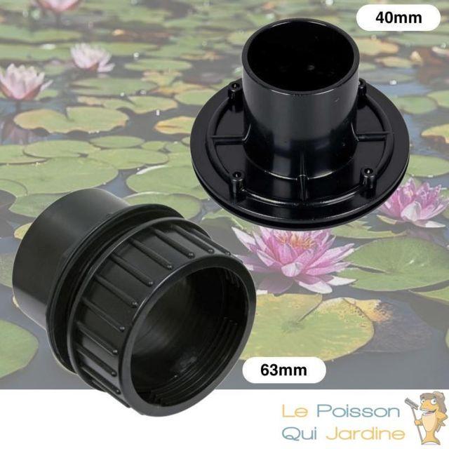 Le Poisson Qui Jardine Mix De 2 Passe-Parois, à Visser 63 mm + Vis Inox 40 mm, Pvc , Pour Bassins