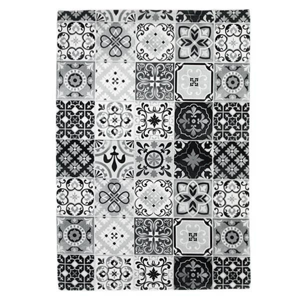 thedecofactory tapis carreaux de ciment 40x60 noir pas. Black Bedroom Furniture Sets. Home Design Ideas