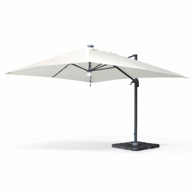 alice 39 s garden parasol d port solaire led rectangulaire 3 x 4 m haut de gamme luce ecru. Black Bedroom Furniture Sets. Home Design Ideas