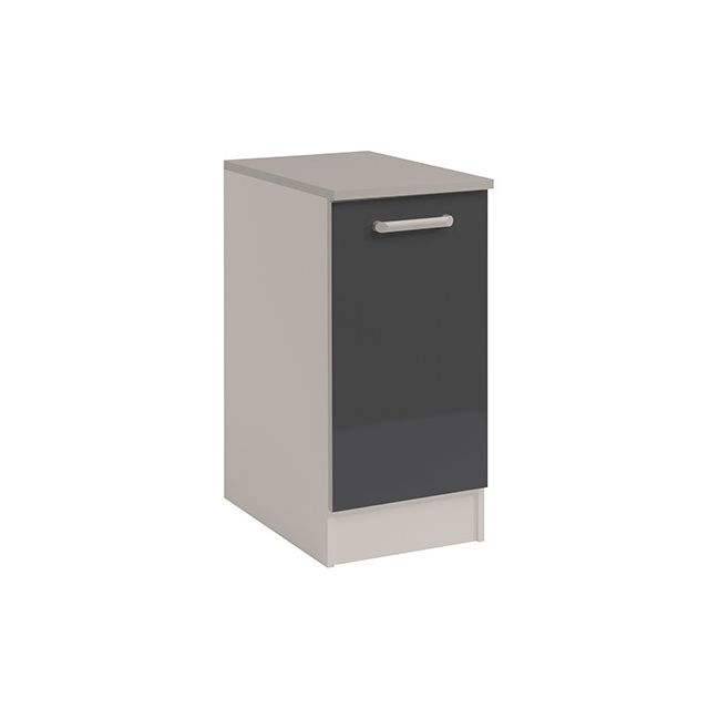 Meuble bas 1 porte L40xH86xP60cm - gris brillant