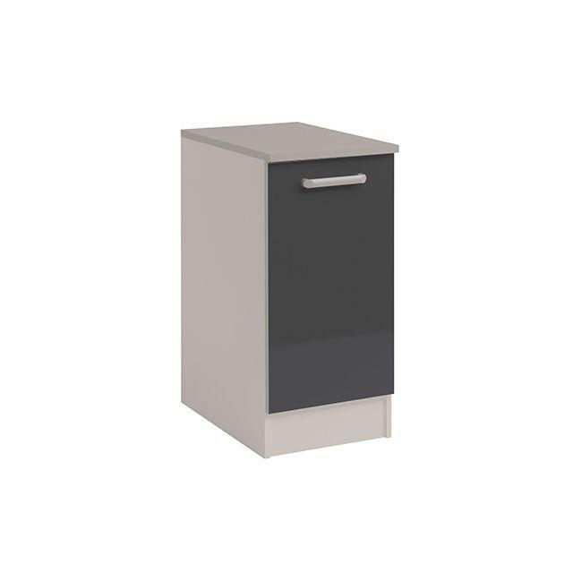 Meuble bas 1 porte L40xH86xP60cm - gris brillant