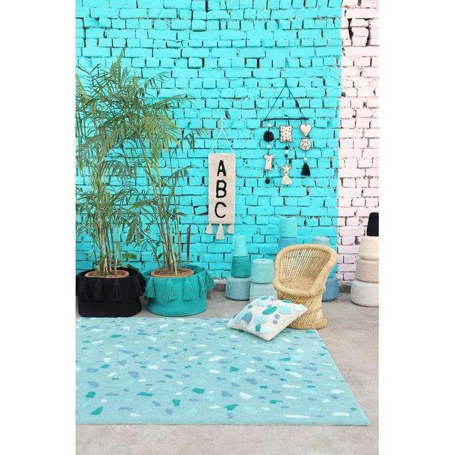 Lorena Canals Tapis Terrazo vert émeraude rectangle en coton lavable pour chambre bébé garçon par - Couleur - Bleu, Taille - 140 / 200
