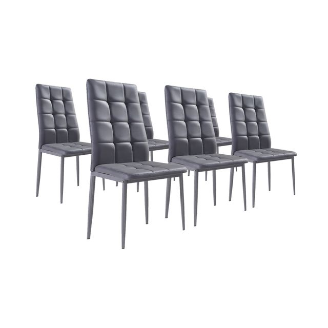 Nina gris lot de chaises simili gris with chaise moderne grise - Housse de chaise grise pas cher ...