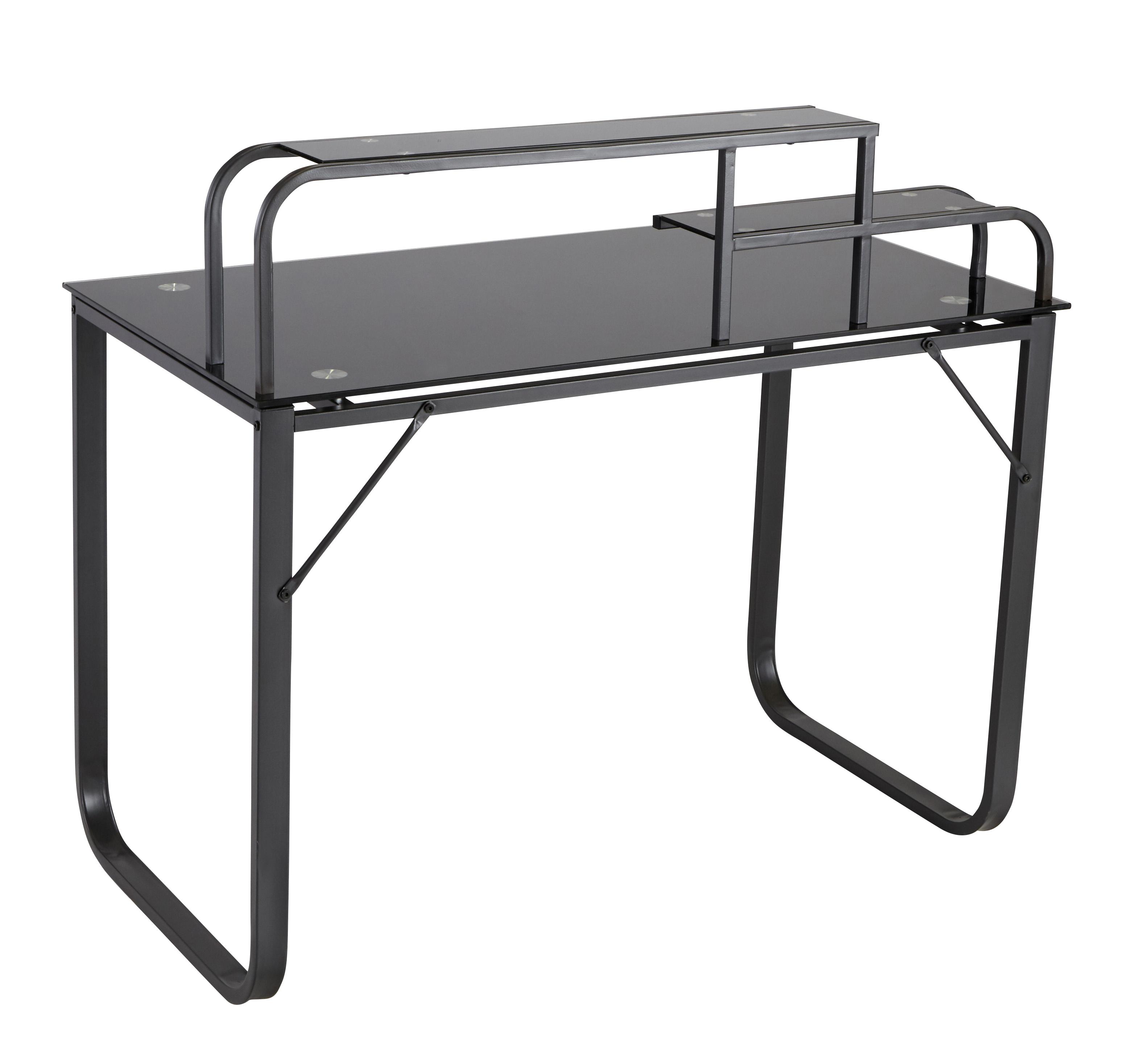 soldes rue du commerce bureau verre et m tal noir. Black Bedroom Furniture Sets. Home Design Ideas