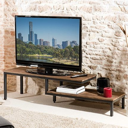meuble tv 2 tablettes bois et m tal appoline teck fonc sebpeche31. Black Bedroom Furniture Sets. Home Design Ideas