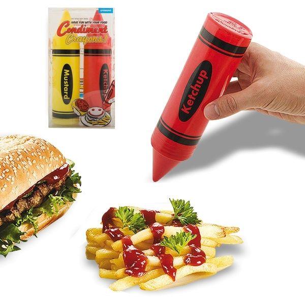 Totalcadeau Duo de récipients distributeurs de sauce en forme de crayon
