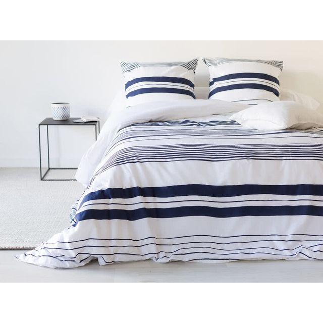 Dlm Parure De Lit 260x240 Coton Rayure Bleu Et Blanc Matt Pas