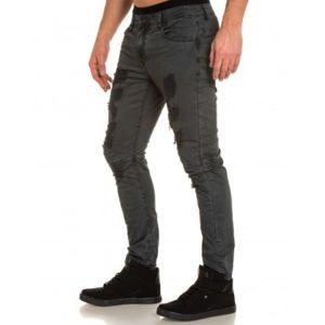 BLZ Jeans - Pantalon gris foncé troué taille basse