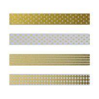 Autre - Masking tape blanc à pois dorés, Masking tape doré à pois blanc, Masking tape à rayures blanches et dorées et Masking tape blanc à losanges dorés