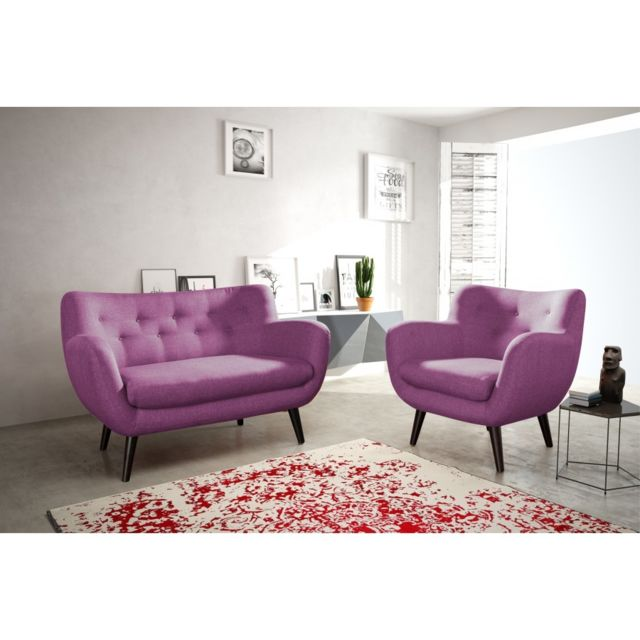 Rocambolesk Canapé Adele 1 sawana 70 prune avec pieds noir sofa divan