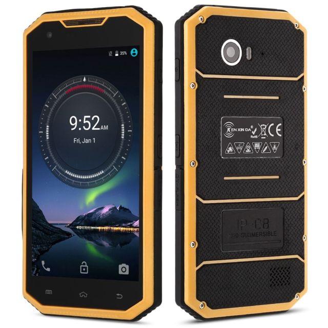 Auto-hightech Smartphone 4G avec 5.0 pouces, android 6.0, étanche et anti-rayure - jaune