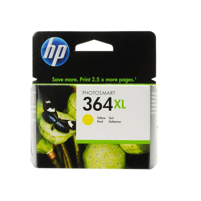 HP CB325EE - Cartouche d'encre 364XL Jaune HP 364XL Cartouche d'encre Jaune grande capacité authentique pour HP Photosmart 5520/5522/5524/5525/6525/7520, HP Officejet 4620, HP Deskjet 3520