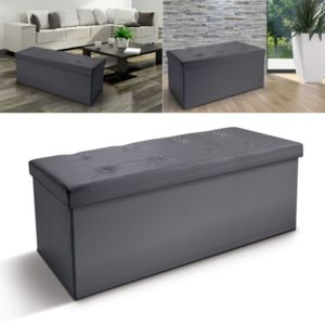 idmarket banc coffre rangement pvc gris 100x38x38 cm pliable pas cher achat vente banc de. Black Bedroom Furniture Sets. Home Design Ideas